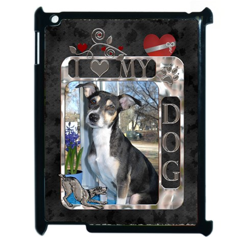 I Love My Dog Apple Ipad 2 Case By Lil    Apple Ipad 2 Case (black)   46r128shc0gd   Www Artscow Com Front