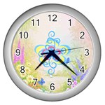Flower Design Clock - Wall Clock (Silver)