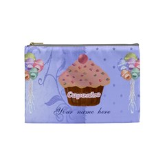 Pink Cupcake With Blue Background Cosmetic Bag By Claire Mcallen   Cosmetic Bag (medium)   D85n3s0soljp   Www Artscow Com Front