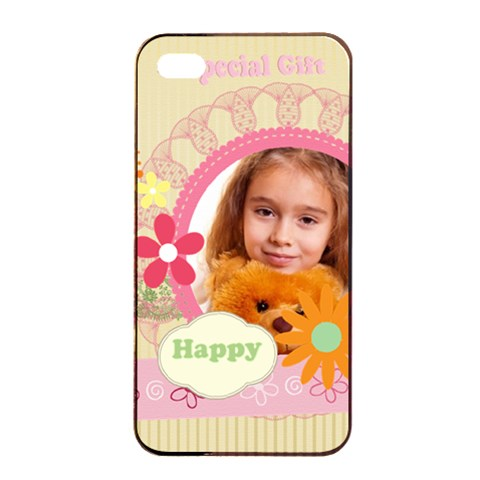A Specal Gift  By Joely   Apple Iphone 4/4s Seamless Case (black)   Agpa97kfoxzo   Www Artscow Com Front