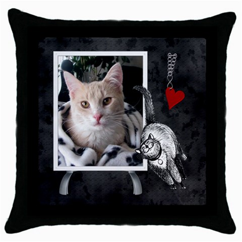 Love My Cat Throw Pillow Case by Lil Front