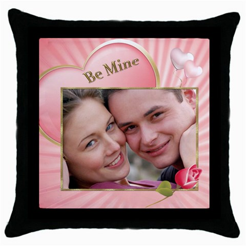 Pink Heart Throw Pillow By Deborah   Throw Pillow Case (black)   9n63s96l5rcg   Www Artscow Com Front