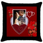 Red Heart Throw Pillow Case - Throw Pillow Case (Black)
