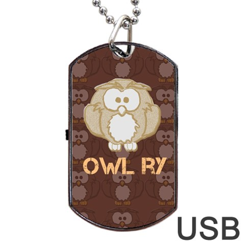 Owlry By Patricia W   Dog Tag Usb Flash (one Side)   7ip6orwfl0j7   Www Artscow Com Front