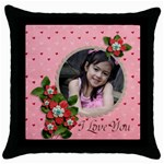 Throw Pillow Case (Black): I LOve You