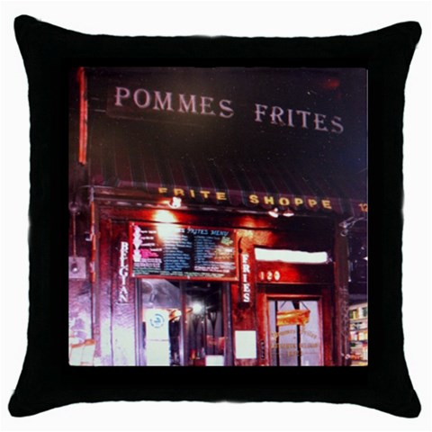 Pommes Frites By Maggie   Throw Pillow Case (black)   4l6cpxyy7k6h   Www Artscow Com Front