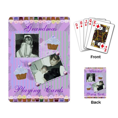 Cupcake Playing Cards In Purple And Green By Claire Mcallen   Playing Cards Single Design   Jdbqnp399rhk   Www Artscow Com Back