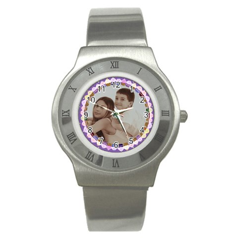 Purple Background Mini Cupcake Frame Watch By Claire Mcallen   Stainless Steel Watch   8i2nwopc0xjk   Www Artscow Com Front