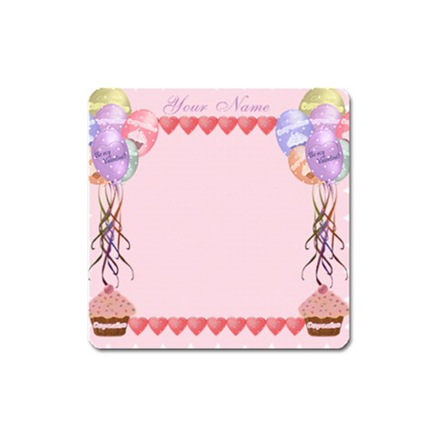 Square Balloons And Cupcake Magnet By Claire Mcallen   Magnet (square)   M3ehsg3qw6ro   Www Artscow Com Front