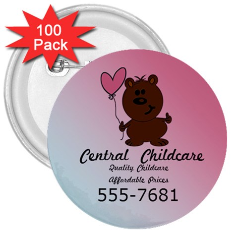 Childcare Button By Patricia W   3  Button (100 Pack)   Bf4rs4ftgpgz   Www Artscow Com Front