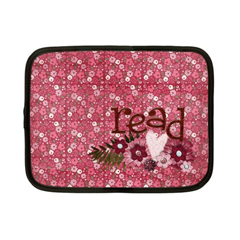 7  Netbook Case, For Digital Reader  Read & Pink Flowers By Mikki   Netbook Case (small)   0ua27d33yh5a   Www Artscow Com Front