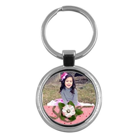 Keychain: Pink Flowers2 By Jennyl   Key Chain (round)   S27fzoi8eob8   Www Artscow Com Front
