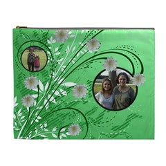 Green Swirl Xl Cosmetic Bag By Kim Blair   Cosmetic Bag (xl)   Syvv2s5hduzu   Www Artscow Com Front