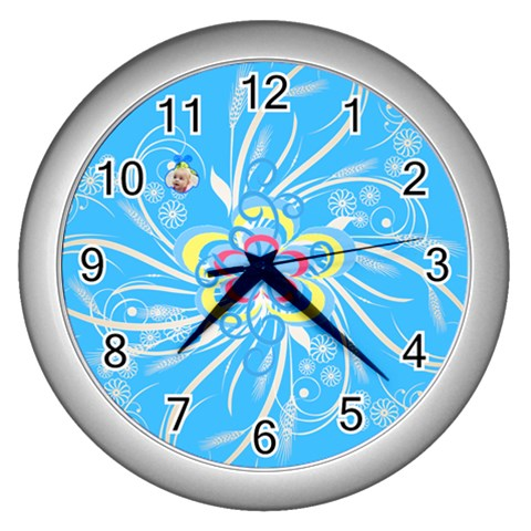 Squiggles Clock By Birkie   Wall Clock (silver)   X98phvs4qwvr   Www Artscow Com Front