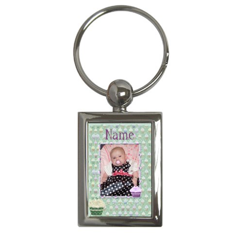 Green Cupcake Keyring By Claire Mcallen   Key Chain (rectangle)   Bprns1lkqvcy   Www Artscow Com Front