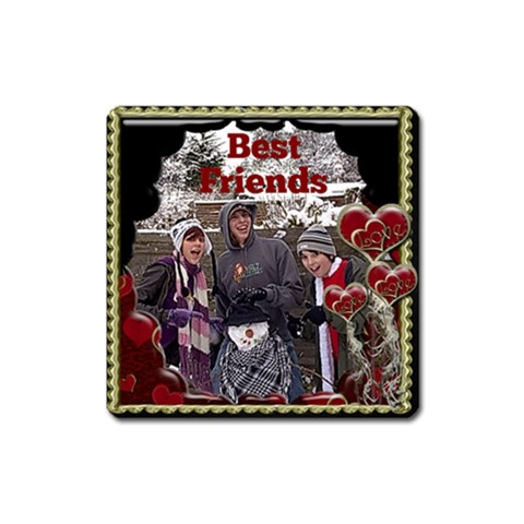 Best Friends Red Hearts Square Magnet By Claire Mcallen   Magnet (square)   93qnf0mwu12s   Www Artscow Com Front