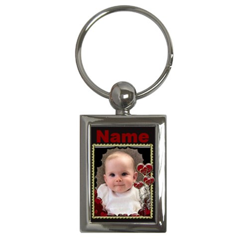 Red Love Heart Gold Frame Keyring By Claire Mcallen   Key Chain (rectangle)   Te070vyccrtj   Www Artscow Com Front