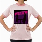 Film Noir Scene Women s Fitted Ringer T-Shirt