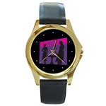 Film Noir Scene Round Gold Metal Watch
