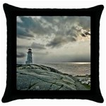 Peggy s Cove Lighthouse Throw Pillow Case (Black)