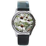 Frost Flowers Round Metal Watch