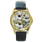 Frost Flowers Round Gold Metal Watch