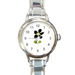 Little Black Flower Round Italian Charm Watch