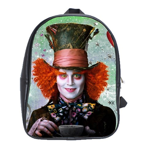 Alice In Wonderland 2 By Chaido   School Bag (large)   7r88f9n032bn   Www Artscow Com Front