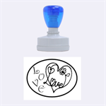 Love heart - Rubber Stamp Oval