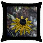 Rudbeckia Throw Pillow Case (Black)