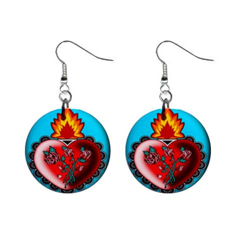 Heart With Fire Earrings By Chaido   1  Button Earrings   4mmb779zkyrs   Www Artscow Com Front