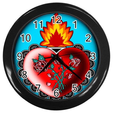 Fire Heart Wall Clock (black) By Chaido   Wall Clock (black)   R8w9vblnysqn   Www Artscow Com Front