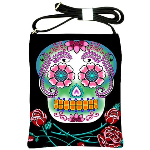 Sugar Skull Shoulder Sling Bag By Chaido   Shoulder Sling Bag   Gl1iqajyuqb5   Www Artscow Com Front