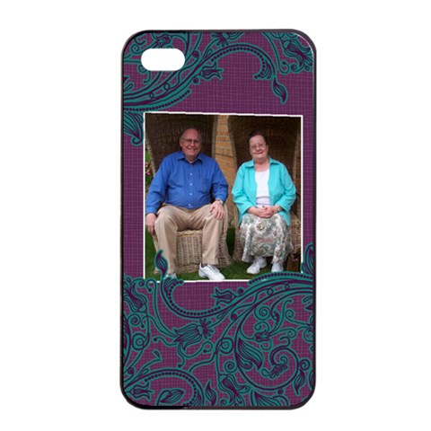 Purple And Turquoise Apple Iphone 4/4s Seamless Case (black) By Klh   Apple Iphone 4/4s Seamless Case (black)   9my0gw12wvqz   Www Artscow Com Front