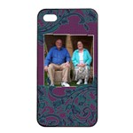 Purple and Turquoise Apple iPhone 4/4s Seamless Case (Black)