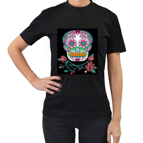 Sugar Skull Women s Black T Shirt By Chaido   Women s T Shirt (black)   Dac0ht4w5rpy   Www Artscow Com Front
