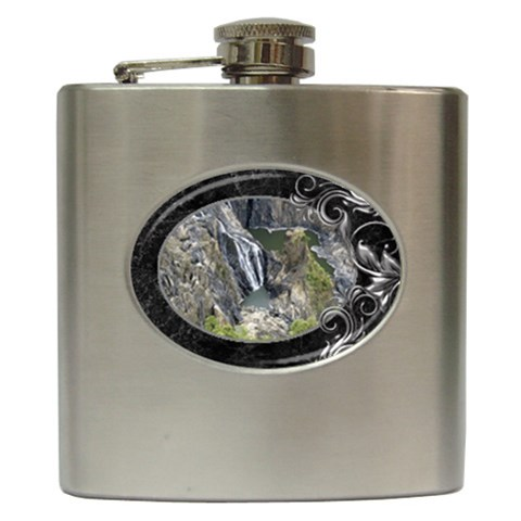 Black Marble And Silver Hip Flask By Deborah   Hip Flask (6 Oz)   Xwxewm05sgfn   Www Artscow Com Front