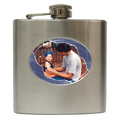 Denim Hip Flask By Deborah   Hip Flask (6 Oz)   Ipzh8peavjfu   Www Artscow Com Front