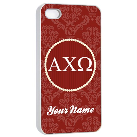 Alpha Chi Omega Sorority Iphone 4/4s Case By Klh   Apple Iphone 4/4s Seamless Case (white)   Fkluhn1vrl2e   Www Artscow Com Front