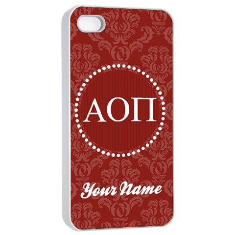Alpha Omicron Pi Sorority Iphone 4/4s Case By Klh   Apple Iphone 4/4s Seamless Case (white)   Lbrxd2grb2x3   Www Artscow Com Front