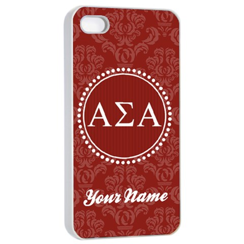 Alpha Sigma Alpha Sorority Iphone 4/4s Case By Klh   Apple Iphone 4/4s Seamless Case (white)   3ei9vm54vez9   Www Artscow Com Front