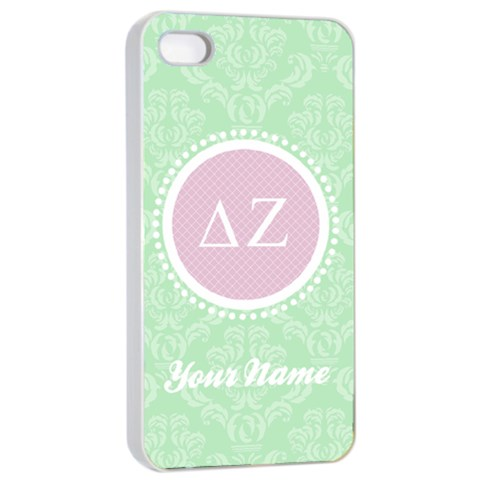 Delta Zeta Sorority Iphone 4/4s Case By Klh   Apple Iphone 4/4s Seamless Case (white)   Vo2q7x1my5ik   Www Artscow Com Front