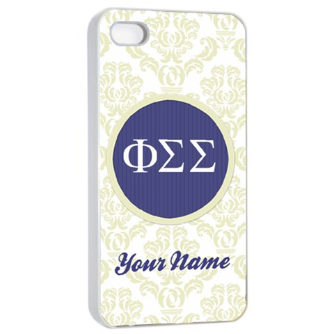 Phi Sigma Sigma Sorority Iphone 4/4s Case By Klh   Apple Iphone 4/4s Seamless Case (white)   Rb00kqecfn52   Www Artscow Com Front