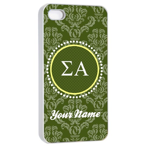 Sigma Alpha Sorority Iphone 4/4s Case By Klh   Apple Iphone 4/4s Seamless Case (white)   3pvughyjpmr9   Www Artscow Com Front