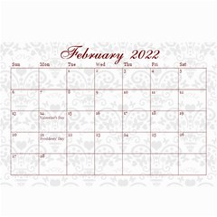 2013 February Start Red Love Heart Calendar by claire mcallen Mar 2013