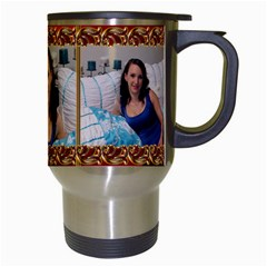 Framed With Gold Travel Mug By Deborah   Travel Mug (white)   Ztdq6p4qb20r   Www Artscow Com Right