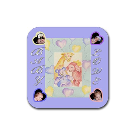 Blue Baby Coaster 4 Pack By Birkie   Rubber Square Coaster (4 Pack)   3b7zepgutdrg   Www Artscow Com Front