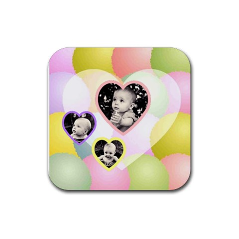 Colorful Heart Coaster By Birkie   Rubber Coaster (square)   Akvqiioffthz   Www Artscow Com Front