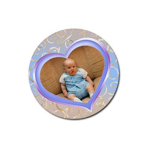 Our Heart Blue Round Coaster By Deborah   Rubber Coaster (round)   Oebgpd1pvxep   Www Artscow Com Front