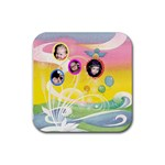 Colorful Swirls Coaster - Rubber Coaster (Square)